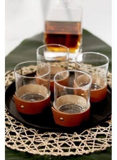 Maxmillen Deri Siyah Kemerli Whisky Kadehi - Bardağı 4'Lü Taba Renkli